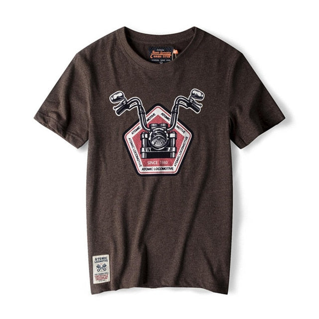 Short Sleeve Motorcycle Print T-shirt