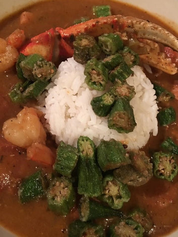 Seafood Gumbo with Fried Okra