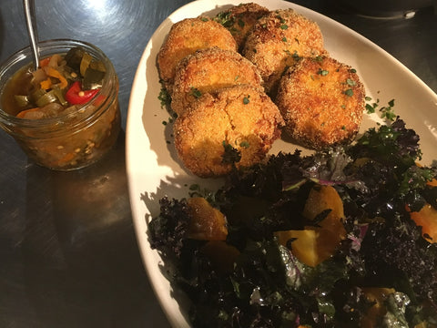 Red Kale Yellow Beet Salad n Salmon Croquettes, Hot Pepper Chowchow