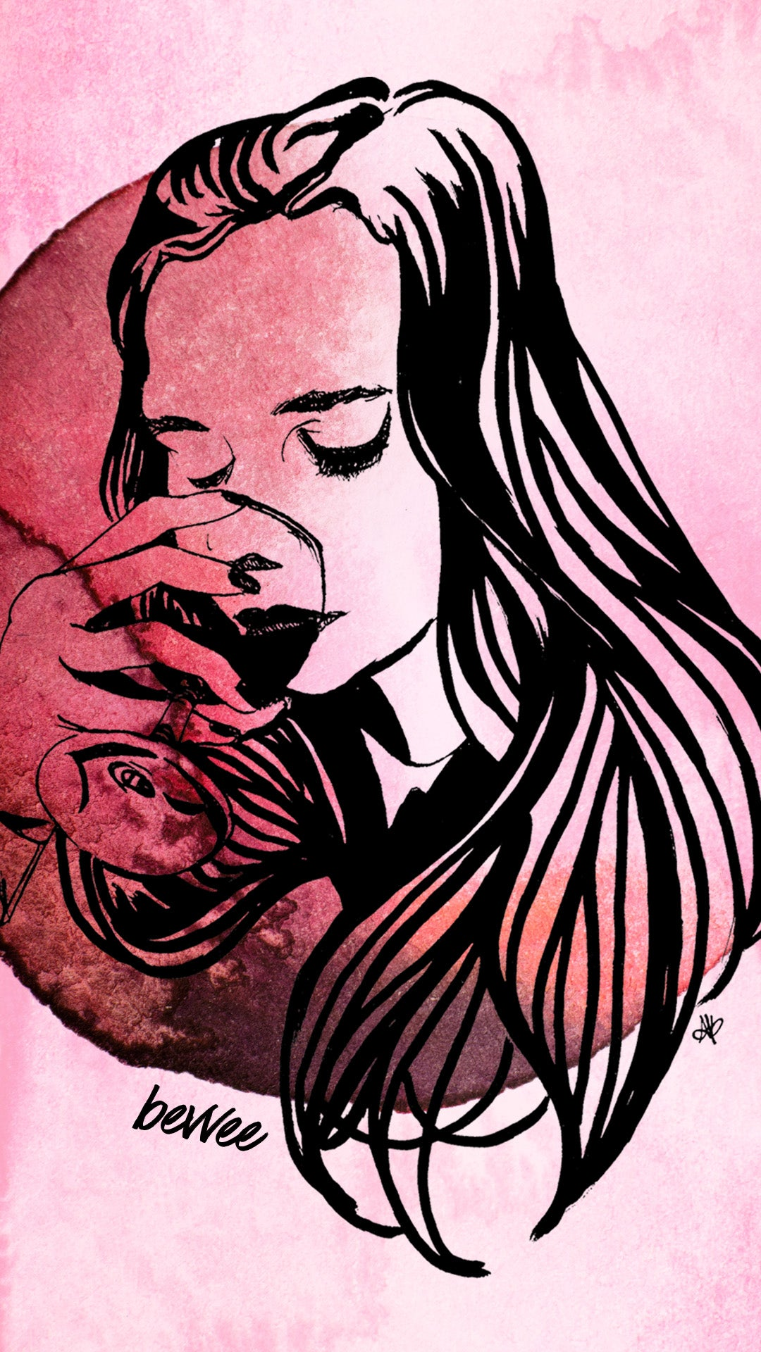 watercolor wine woman drinking phone wallpaper