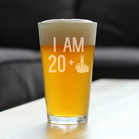 Image of 20 + 1 Middle Finger - 16 Ounce Pint Glass
