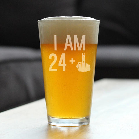 Image of 24 + 1 Middle Finger - 16 Ounce Pint Glass