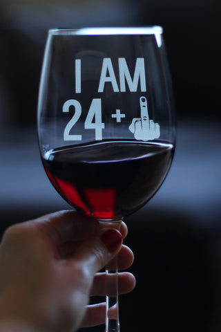 24 + 1 Middle Finger - 16.5 Ounce Stem Wine Glass