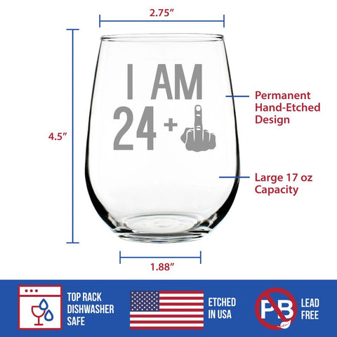 24 + 1 Middle Finger - 17 Ounce Stemless Wine Glass