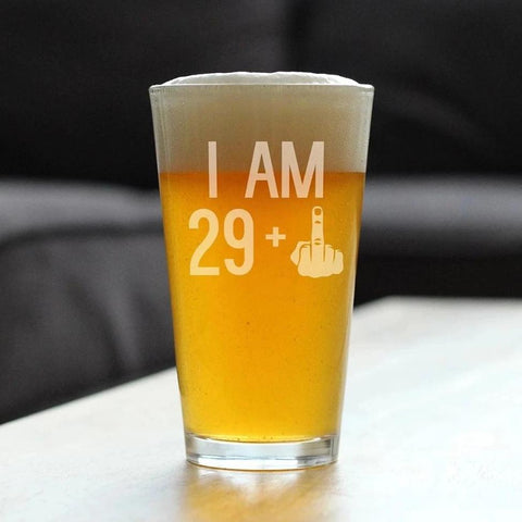 Image of 29 + 1 Middle Finger - 16 Ounce Pint Glass