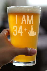 34 + 1 Middle Finger - 16 Ounce Pint Glass