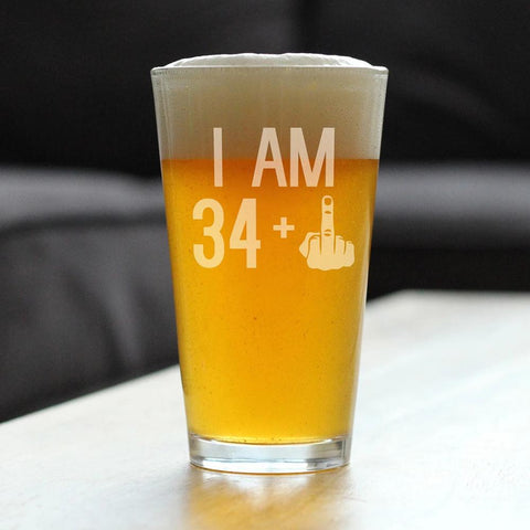 Image of 34 + 1 Middle Finger - 16 Ounce Pint Glass