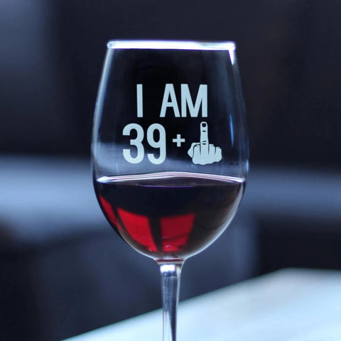39 + 1 Middle Finger - 16.5 Ounce Stem Wine Glass
