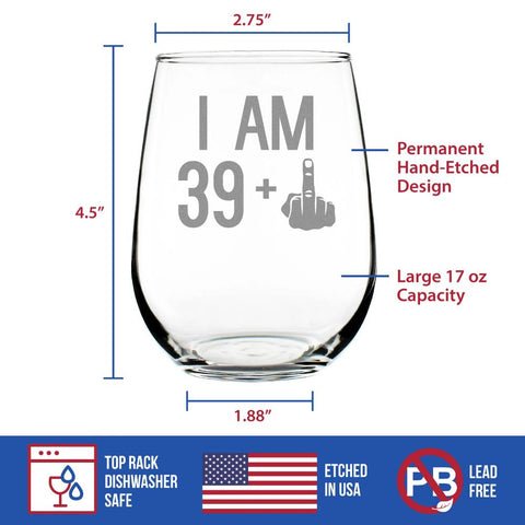 Image of 39 + 1 Middle Finger - 17 Ounce Stemless Wine Glass