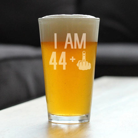 44 + 1 Middle Finger - 16 Ounce Pint Glass