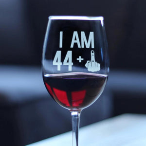 44 + 1 Middle Finger - 16.5 Ounce Stem Wine Glass