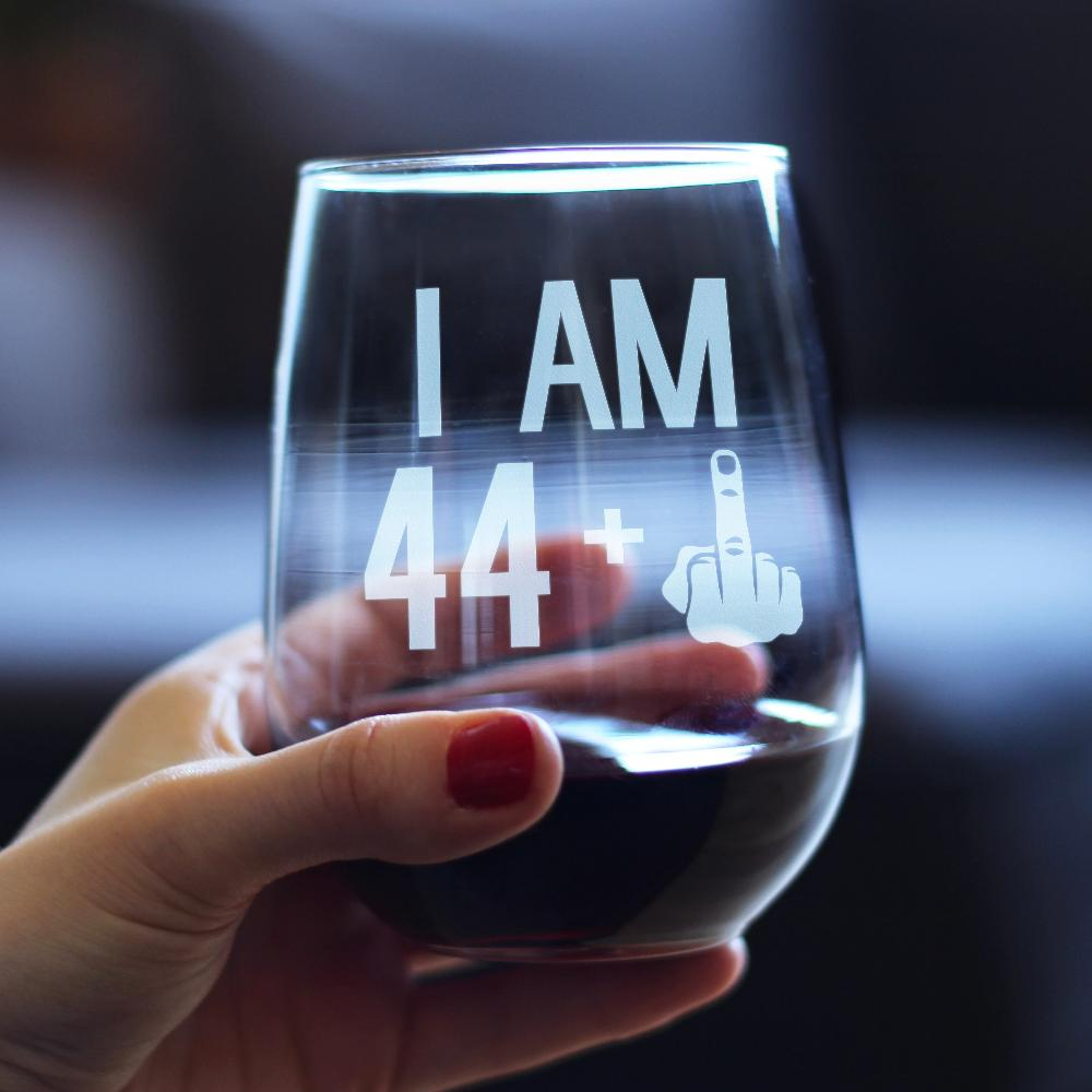 44 + 1 Middle Finger - 17 Ounce Stemless Wine Glass