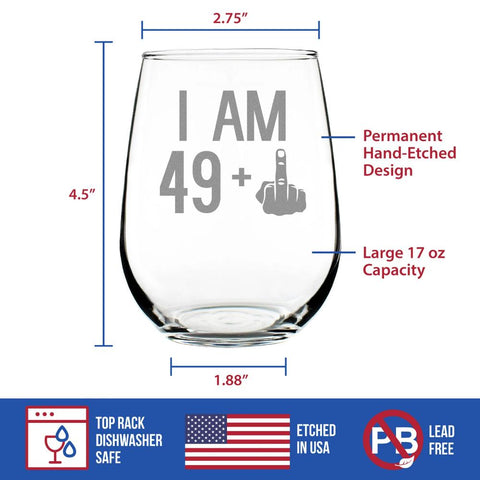 49 + 1 Middle Finger - 17 Ounce Stemless Wine Glass