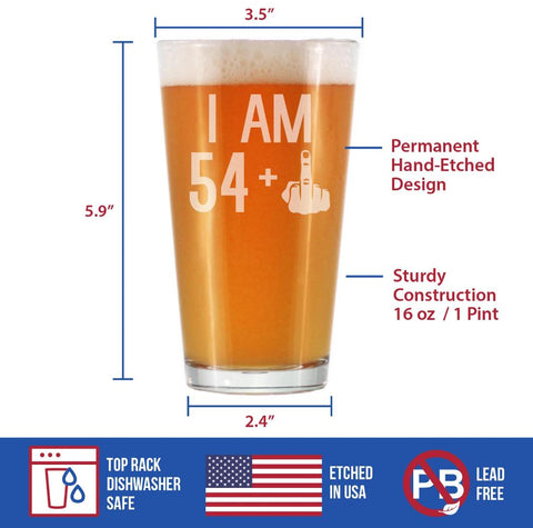54 + 1 Middle Finger - 16 Ounce Pint Glass