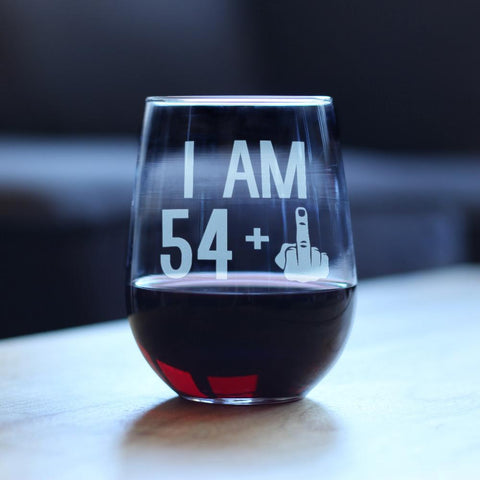 Image of 54 + 1 Middle Finger - 17 Ounce Stemless Wine Glass
