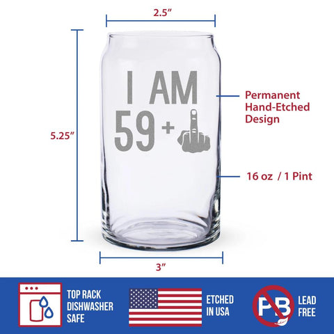 59 + 1 Middle Finger - 16 Ounce Beer Can Pint Glass
