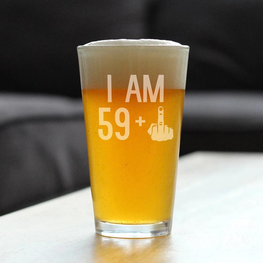 59 + 1 Middle Finger - 16 Ounce Pint Glass