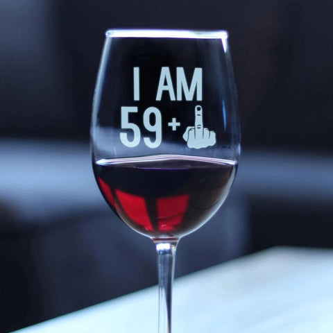 59 + 1 Middle Finger - 16.5 Ounce Stem Wine Glass