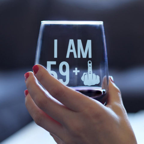 Image of 59 + 1 Middle Finger - 17 Ounce Stemless Wine Glass