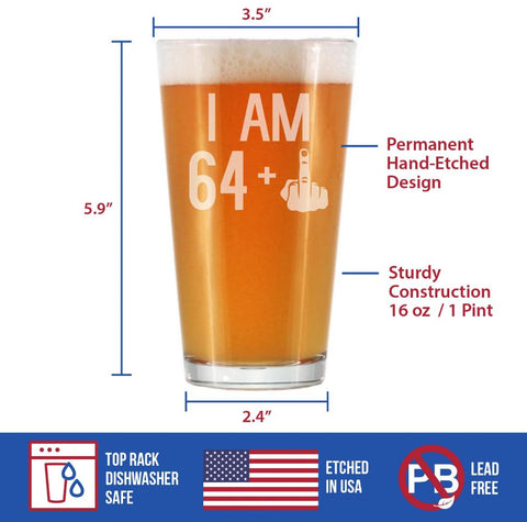 64 + 1 Middle Finger - 16 Ounce Pint Glass