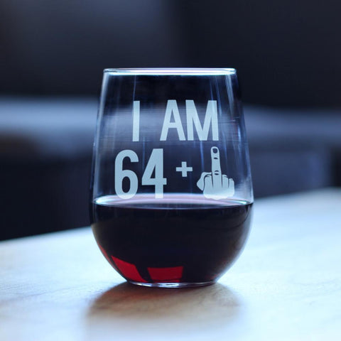 Image of 64 + 1 Middle Finger - 17 Ounce Stemless Wine Glass
