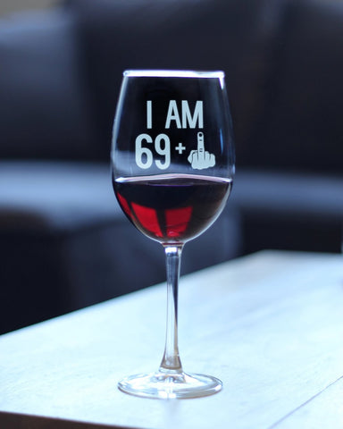 69 + 1 Middle Finger - 16.5 Ounce Stem Wine Glass