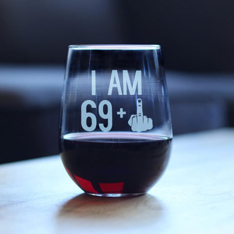 Image of 69 + 1 Middle Finger - 17 Ounce Stemless Wine Glass