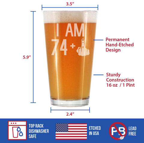 Image of 74 + 1 Middle Finger - 16 Ounce Pint Glass
