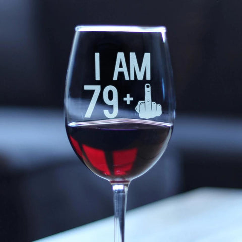 79 + 1 Middle Finger - 16.5 Ounce Stem Wine Glass