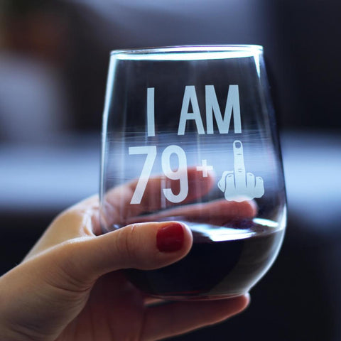 Image of 79 + 1 Middle Finger - 17 Ounce Stemless Wine Glass