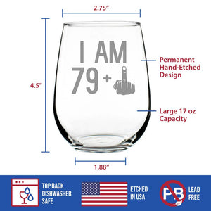 79 + 1 Middle Finger - 17 Ounce Stemless Wine Glass