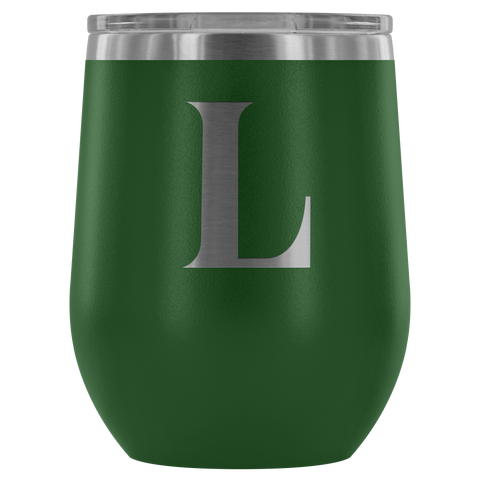 Image of Monogram Bold Initial Letter L - Wine Tumbler