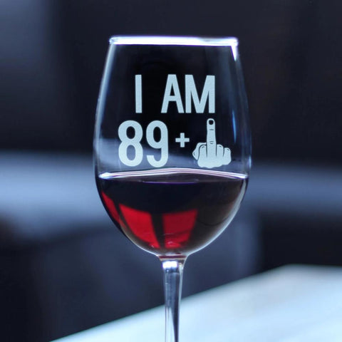 89 + 1 Middle Finger - 16.5 Ounce Stem Wine Glass