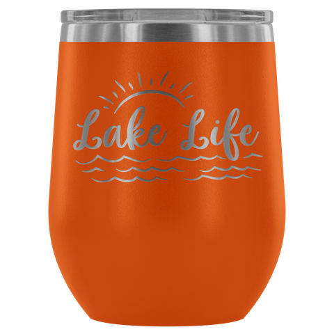 Lake Life Sunset - Wine Tumbler