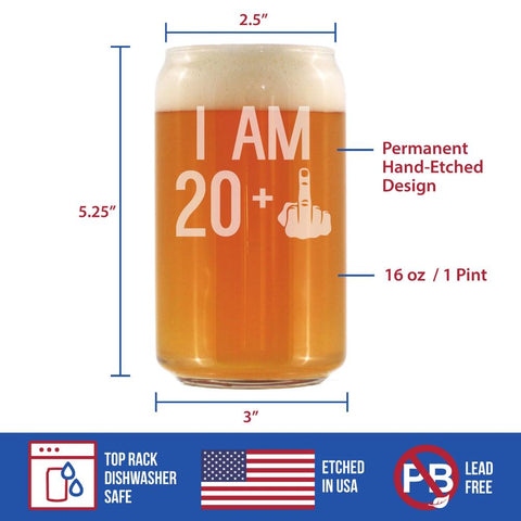 20 + 1 Middle Finger - 16 Ounce Beer Can Pint Glass