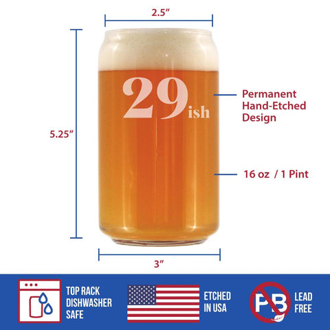29ish - 16 Ounce Beer Can Pint Glass