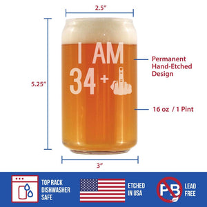 34 + 1 Middle Finger - 16 Ounce Beer Can Pint Glass