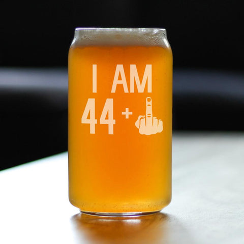 44 + 1 Middle Finger - 16 Ounce Beer Can Pint Glass