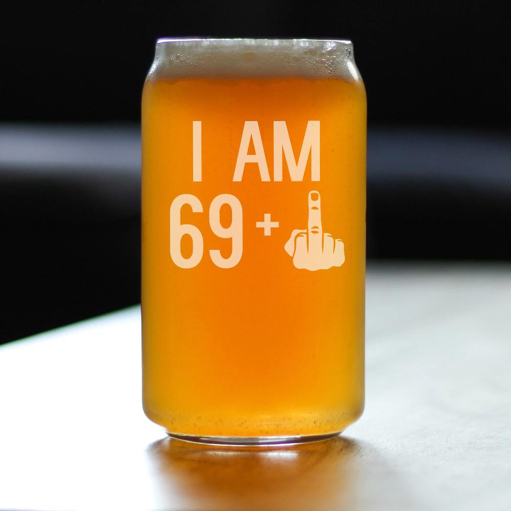 69 + 1 Middle Finger - 16 Ounce Beer Can Pint Glass