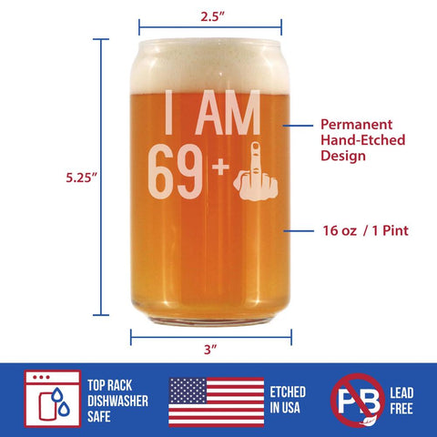 Image of 69 + 1 Middle Finger - 16 Ounce Beer Can Pint Glass