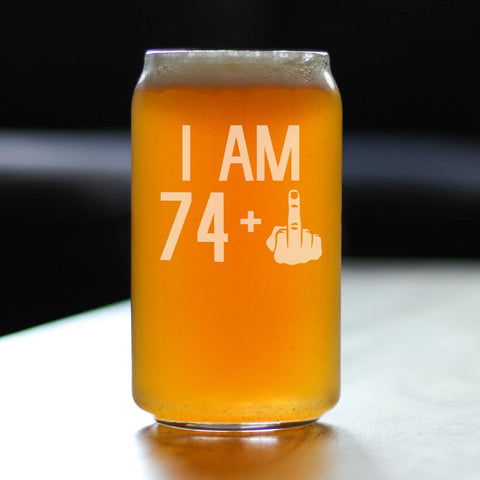 Image of 74 + 1 Middle Finger - 16 Ounce Beer Can Pint Glass