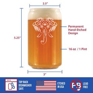 Elephant Boho - 16 Ounce Beer Can Pint Glass
