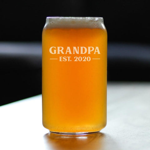 Image of Grandpa Est. 2020 Bold - 16 Ounce Beer Can Pint Glass