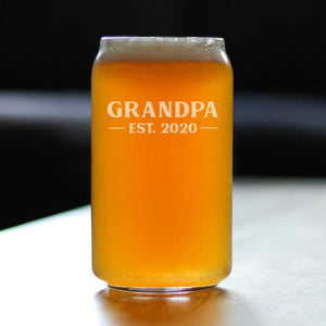 Grandpa Est. 2020 Bold - 16 Ounce Beer Can Pint Glass