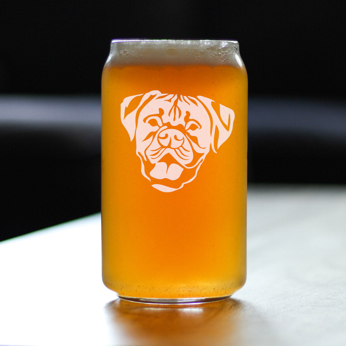 Happy Boxer Face | Natural Ears - 16 Ounce Beer Can Pint Glass
