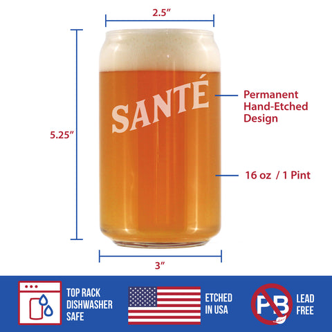 Cheers French - Santé - 16 Ounce Beer Can Pint Glass