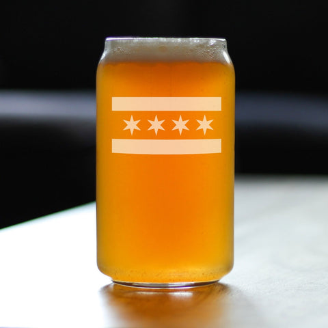 Chicago Flag - 16 Ounce Beer Can Pint Glass