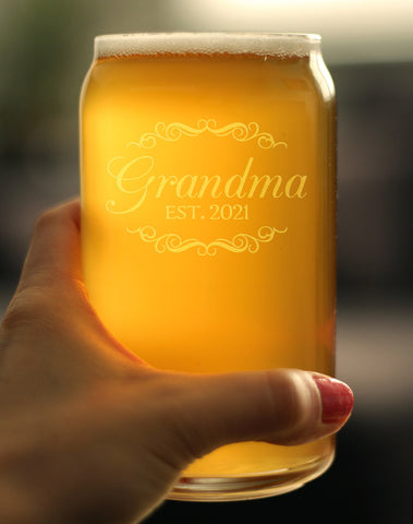 Grandma Est. 2021 - 16 Ounce Beer Can Pint Glass