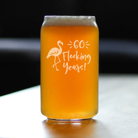 Image of 60 Flocking Years - 16 Ounce Beer Can Pint Glass