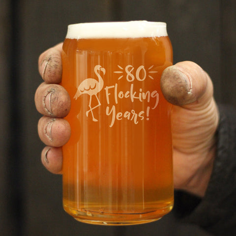 Image of 80 Flocking Years - 16 Ounce Beer Can Pint Glass